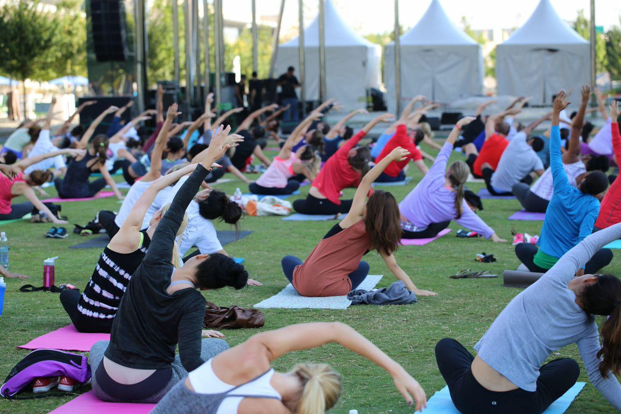 Yoga Class in Klyde Warren Park