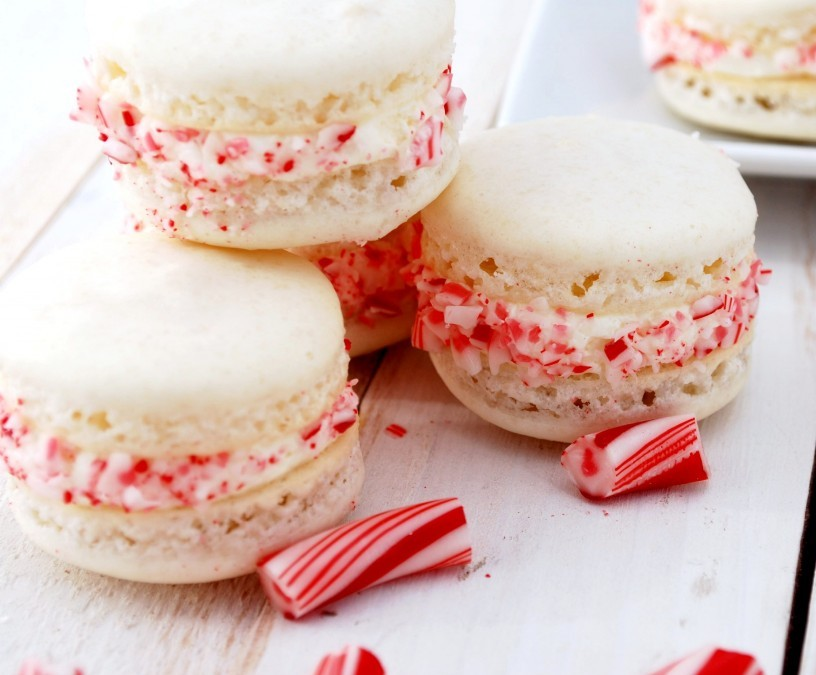 Candy Cane Macarons via Cake and Allie