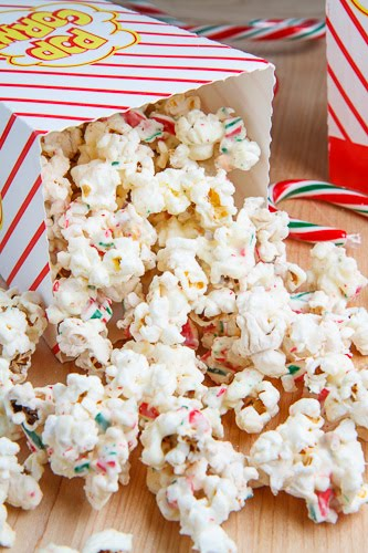 Peppermint Candy Cane Popcorn via Closet Cooking