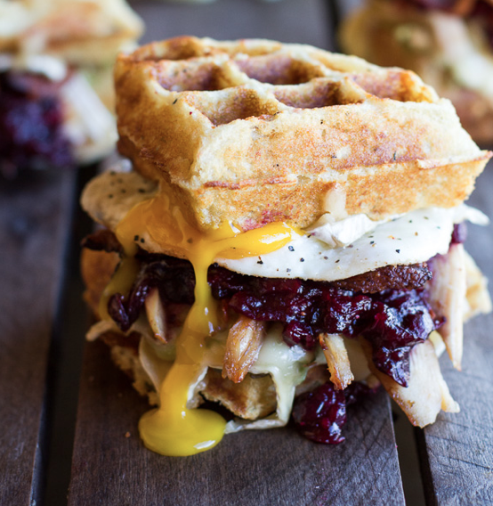 Mashed Potato Waffle Crispy Turkey, Smashed Avocado, Cranberry & Brie Melt