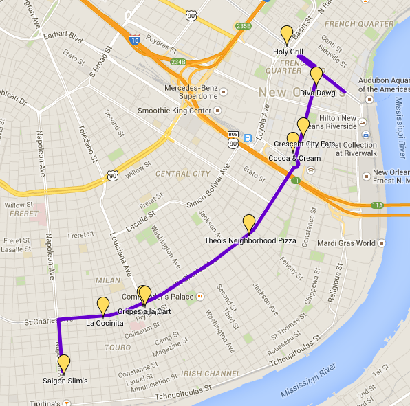 Mardi Gras Parade Route & Food Truck Stops