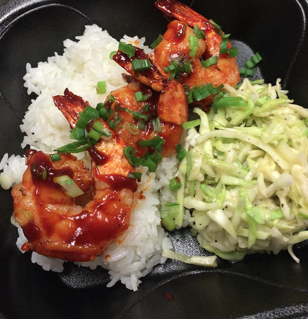 Mmm Bap Truck - Korean infused grilled shrimp over rice