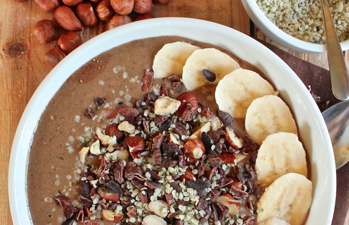 Chocolate Hazelnut Hemp Smoothie Bowl