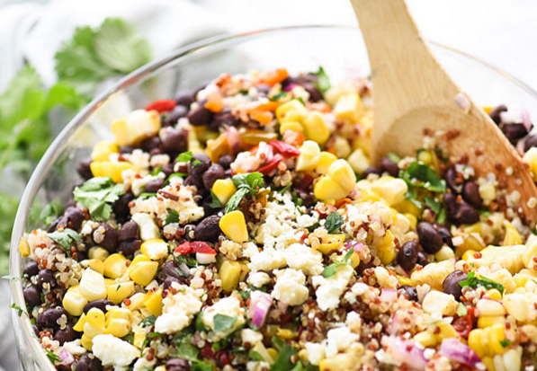 Southwest quinoa grilled corn salad