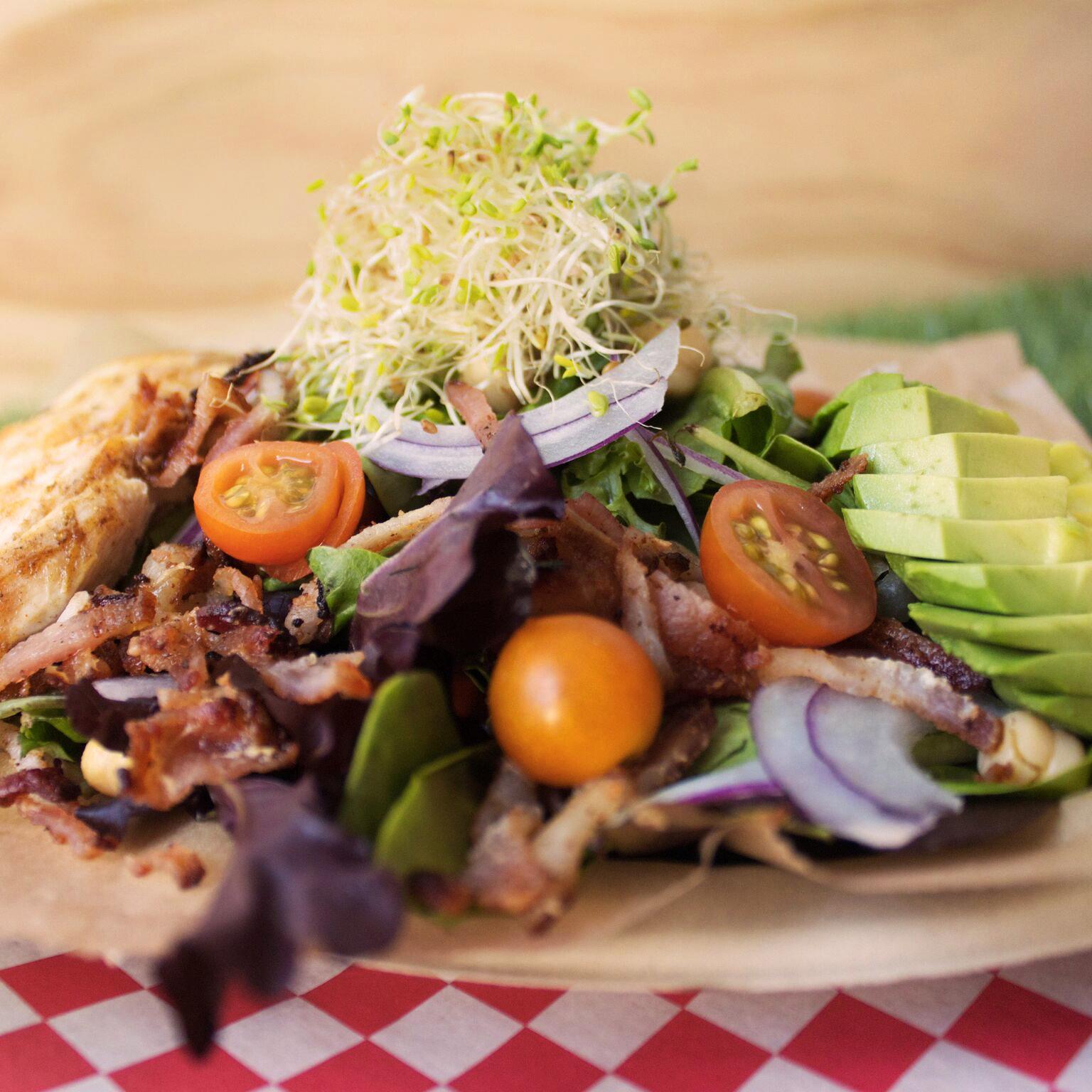 delicious salad, organic, vegetables, eat your veggies, sprouts, bacon, chicken, avocado