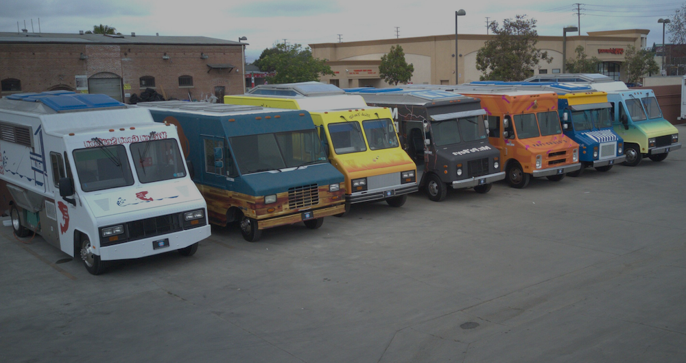 seven food trucks ready for filming tv show